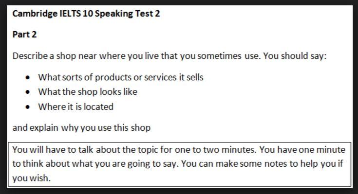 IELTS Speaking Test 3 parts